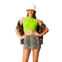 Shock Wave Neon Green Lime Spandex Halter Crop Top