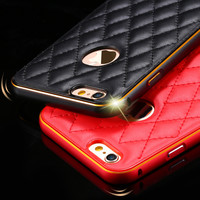I phone 6 6 Plus Fashion Grid Aluminum Leather Case