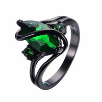 ESBOK2 Elegant Gunmetal CZ Emerald Green  Ring