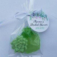Succulent Bridal Shower, Baby Shower Party Favors with Personalized Tags for Wedding Custom Made - Pack of 10