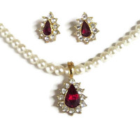 White Glass Pearl & Red Rhinestone Enhancer Necklace and Earrings Vintage Set