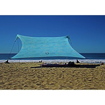 Neso Tents Gigante Beach Tent, 8ft Tall, 11 x 11ft, Biggest Portable Beach Shade, UPF 50+ SunProtection, Reinforced Corners and Cooler Pocket Aqua Fronds