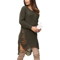 Winter Autumn Dress Femme Ripped Out Holes Sweater Pullover Irregular Oversized Women Tricot Knitwear Sexy Sweater Dress X0080