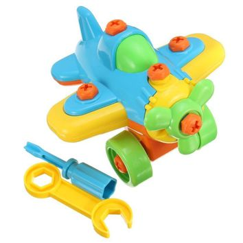 DIY Disassembling Small Plane Building Blocks Children Assembled Model Tool clamp With Screwdriver Educational Toy