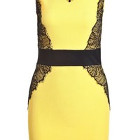 Sheinside Women's Yellow Contrast Lace V Neck Bodycon Dress