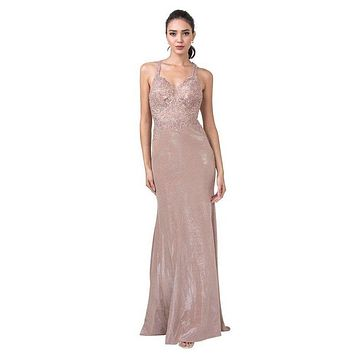Rose Gold Appliqued Long Prom Dress with Racer Cut-Out Back
