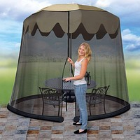 Ideaworks JB5678 Outdoor 9-Foot Umbrella Table Screen, Black 9 Feet