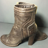 Chloe Zip Back Brown Leather Women's Short Ankle Boots Booties Size 37 Size 6.5 US