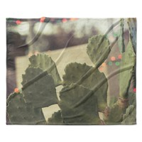 "Ann Barnes ""Austin Summer Party"" Green Tan Fleece Throw Blanket"