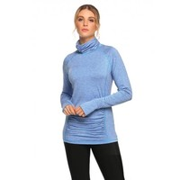 High Neck Long Sleeve Ruched Fitness T-Shirt