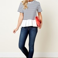 High Seas Navy Striped Peplum Top