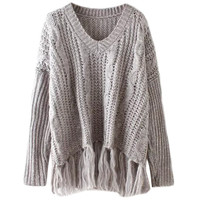 Khaki V-neck Pullover Long Sleeve Fringed Knit Fall Sweater