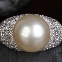 12.3mm South Sea Pearl 1.11CT Diamonds Engagement Ring in 14K White Gold 9.24g