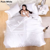 XINLANISNOW 3/4pcs Solid Color Silk Satin Bedding Set Modern Luxury Duvet Cover Set Bedclothes Bed Linen Bed Sheet Pillowcases