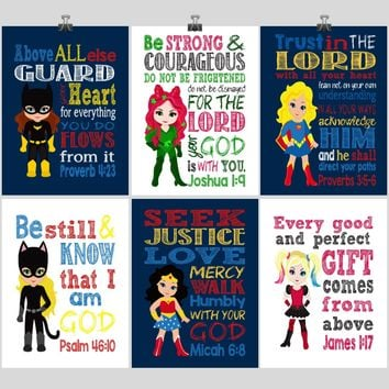 DC Superhero Girls Christian Nursery Decor Art Set of 6 Prints, Batgirl, Harley Quinn, Poison Ivy, Catgirl, Supergirl & Wonder Woman