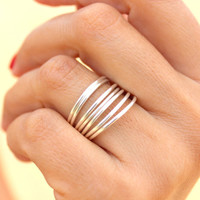 OMG 7 Silver Rings -  Simple Ring - Delicate Rings - Minimalist Rings -  .925 Sterling Silver Filled Rings-  Set of 7 Stacking Rings