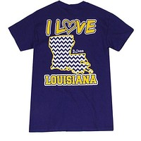 Bjaxx I Love Louisiana Chevron State Southern Girlie Bright T Shirt