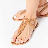 New Look Wide Fit Facet Leather Tan Thong Flat Sandals