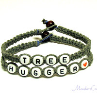 Tree Hugger Bracelets, Set of Two, Grey Macrame Hemp Jewelry, Eco-Friendly Gift