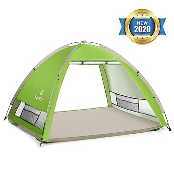 SGODDE Large Pop Up Beach Tent 2020 New Large Anti UV Sun Shelter Tents Portable Automatic Baby Beach Tent Instant Easy Outdoor Cabana for 4-5 Persons for Family Adults Light Green