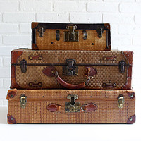 Antique Straw Suitcases, an Instant Collection of Three