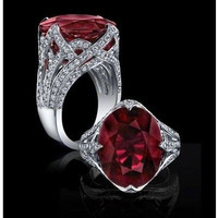 AMAZING 12.25CTW RED RUBY STUD 925 STERLING SILVER ENGAGEMENT AND WEDDING RING