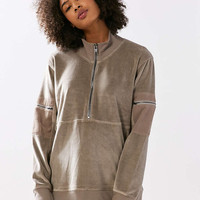 Silence + Noise Velour Oversized Popover Track Jacket - Urban Outfitters