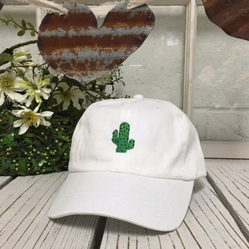 CACTUS Baseball Hat Low Profile Embroidered Baseball Caps Dad Hats White