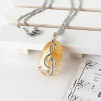 Music Jewelry, Yellow Citrine Gemstone with G Clef Note Charm, Gift for Musician Girl
