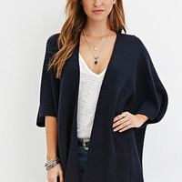 Open-Front Ribbed Cardigan