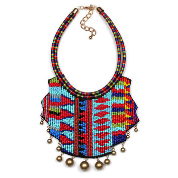 Multicolored Chunky Beaded Ethnic Statement Necklace