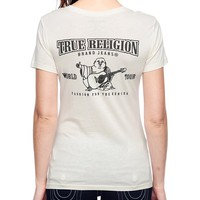 True Religion Hand Picked Classic Logo Deep V-neck Crystal Womens T-shirt - Winter White