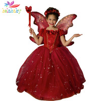 Belababy Princess Girl Dress 2017 Autumn Brand Girl Cosplay Cloak Vestidos Children Lace Flower Sequin Party Dresses For Girls