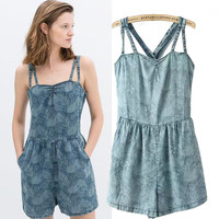 Denim Strappy Rompers