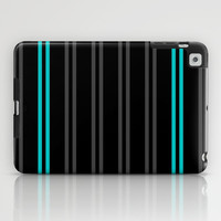 Charcoal Gray/Teal/Black Vertical Stripes iPad Case by Lyle Hatch
