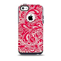 The Red Floral Paisley Pattern Skin for the iPhone 5c OtterBox Commuter Case