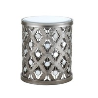 Silver Circle Mirror Accent Table