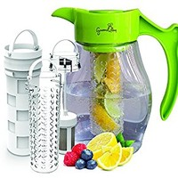 Fruit & Tea Infusion Flavor Pitcher - FREE Infuser Recipe Ebook - Water & tea infuser jug includes 3 infusers for fruit, tea and ice to enhance the flavor of water - Perfect for detox & weight loss
