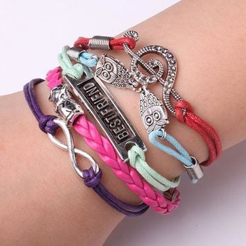 Rope Bracelet Multicolor Best Friends Forever Owl Bracelet