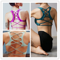 Women Padded Sports Bra Top Vest Gym Fitness Yoga Lace-up Back Athletic Running