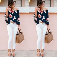 2016 Summer Style Blusas Women Blouses Shirt Off Shoulder Floral Printed Long Sleeve Strapless Women Tops Blouse