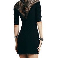 High Neck Buttoned Bodycon Mini Dress with Lace Accent
