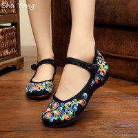 Women Shoes Canvas Shoes Mary Jane Shoes Demin Flats With Embroidery Flats
