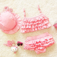 2017 Hot Korean Style With Hat Children Bikini Set Two Pieces Solid Bathing Suit Baby Girls Candy Color Splited Swimwear 62037