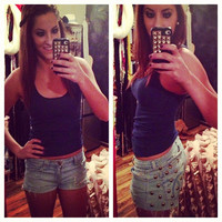 Studded Low Rise Jean Shorts