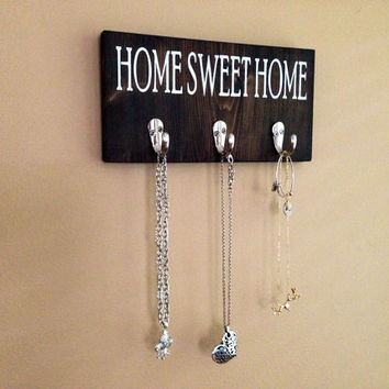 Home Sweet Home Key Rack, Stained and Hand Painted, Personalize, Home decor