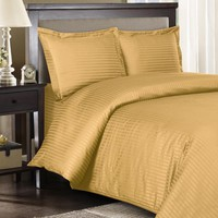 Stripe Gold Down Alternative Bed in a Bag 100% Combed cotton 600 Thread count
