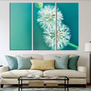 XXL 5 Panel Wall Art Canvas Print Dandelion Flower Turquoise Background Blowball Canvas Printing
