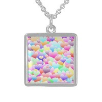 Bubble Hearts Light Sterling Silver Necklace