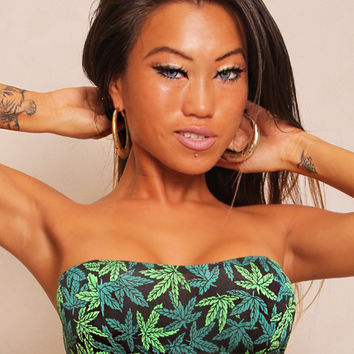 Marijuana Print Basic Tube Top Marijuana Clothing